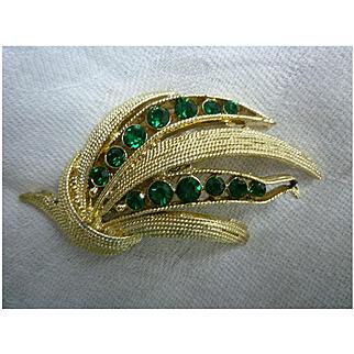 Green Rhinestones and Leaves Vintage Goldtone Brooch