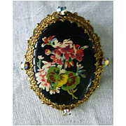 Lovely Pansies and Flowers Elaborate Goldtone Frame with Rhinestones Oval Brooch