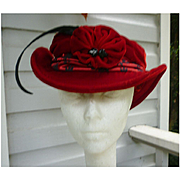 Melissa Wahnbaeck Red Velvet and Red Black Brocade Handmade Hat