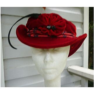 Melissa Wahnbaeck Red Velvet and Red Black Brocade Handmade Hat