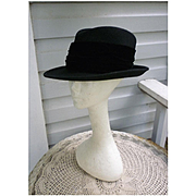 Lord and Taylor Black Velvet Ribbon Trim Vintage Wool Felt Hat