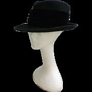 Lord and Taylor Black Velvet Ribbon Trim Vintage Wool Felt Hat