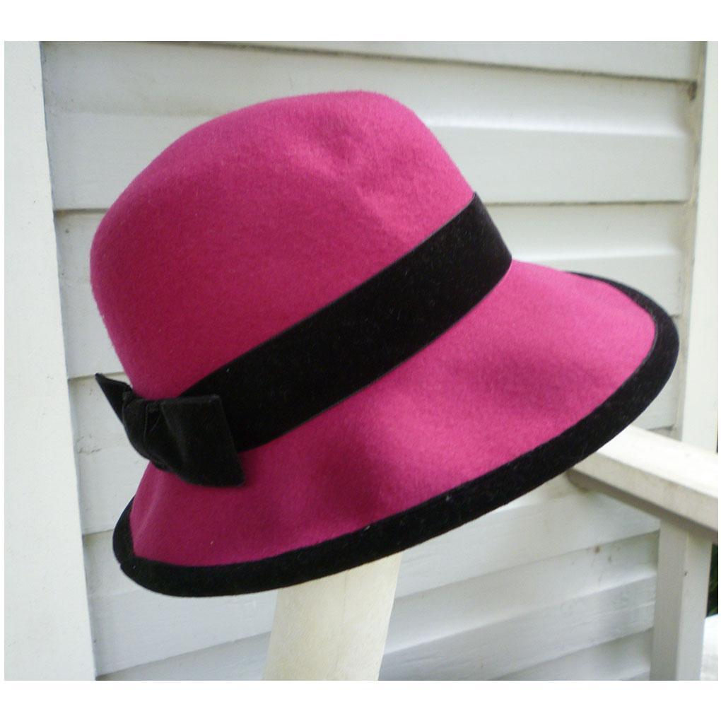 Fuchsia with Black Trim Vintage Wool Felt Hat