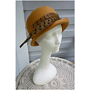 Elaborate Feathers Trim Vintage Tan Wool Felt Hat