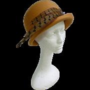 Elaborate Feathers Trim Vintage Tan Wool Felt Hat