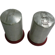 Aluminum Tops and Red Bottoms Salt and Pepper Shakers Set