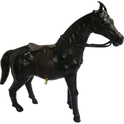 Vintage Leather Toy Horse with Saddle and Bridle
