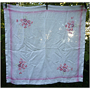 Lovely White Linen with Pink Borders and Embroidered Flowers Tablecloth