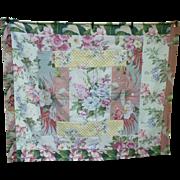 Beautiful Barkcloth and Buttons Patchwork Comfort