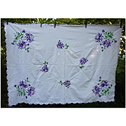 Lavishly Embroidered Purple Flowers Tablecloth