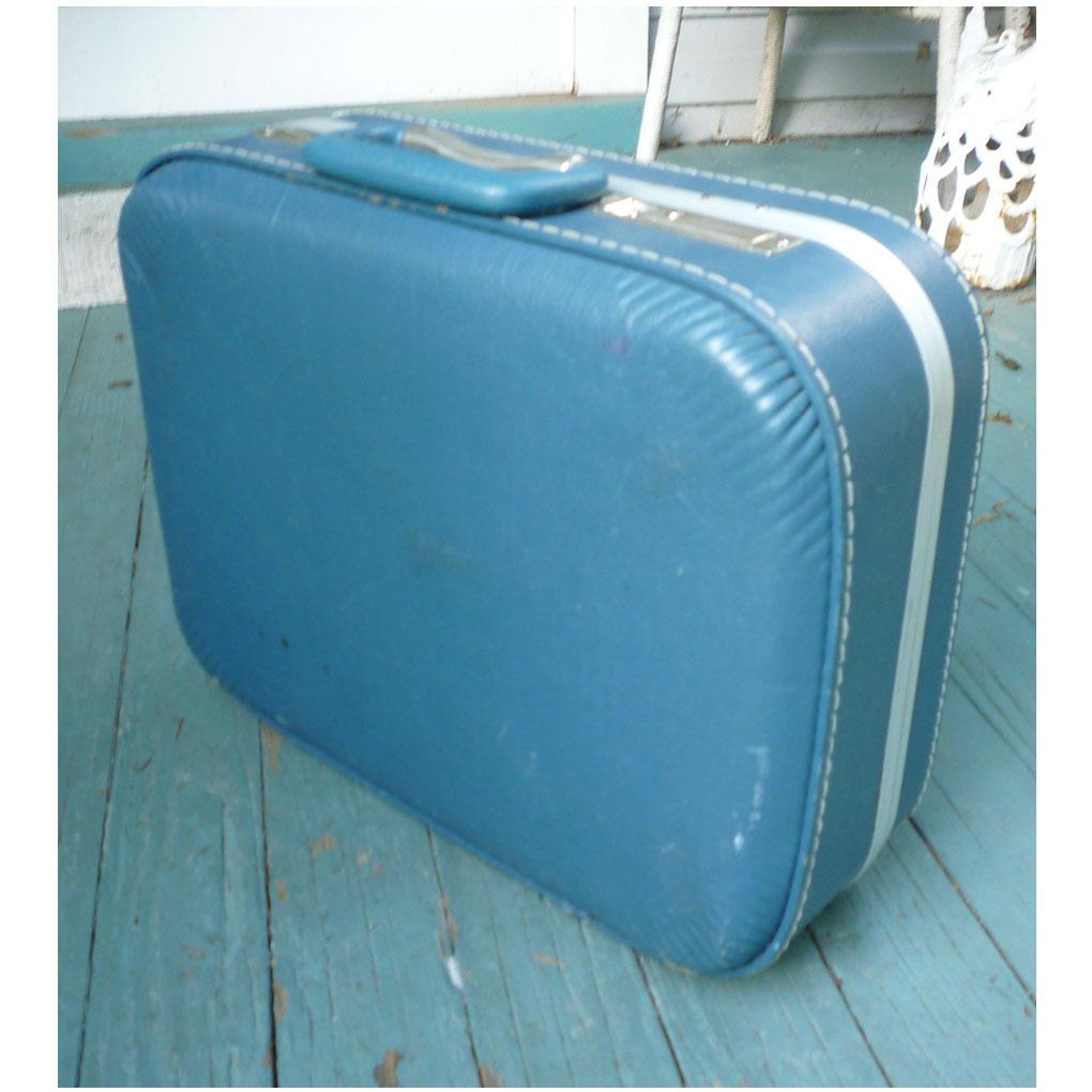 Vintage Blue Overnighter Suitcase with Chrome Trim