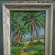 Tropical Landscape Palm Trees Painting Signed 1957