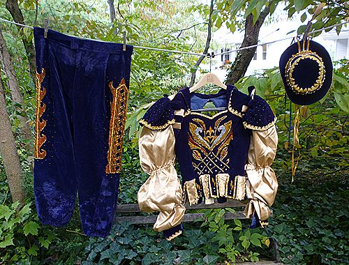 Splendid Renaissance Carnival Mardi Gras Costume Ensemble 4 Pieces