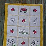 Startex  Farm Apple Tree Vintage 1950's Print Kitchen Towel