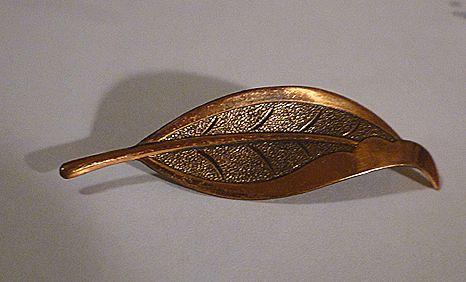 Autumn Leaf Vintage Copper Brooch Pin