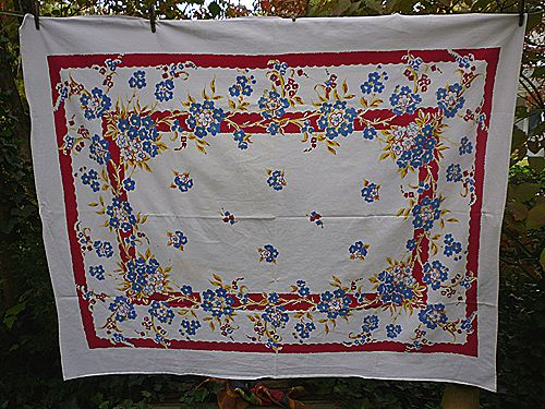 Red Yellow Blue Flowers Leaves Vintage 1950's Print Tablecloth