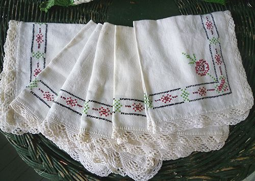 Colorful Cross Stitch Embroidered Lace Trim Linen Napkins Set of 6