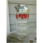 Large Cocktail Recipe Shaker Red and White Print on Glass Chrome Lid Vintage 40's 50's