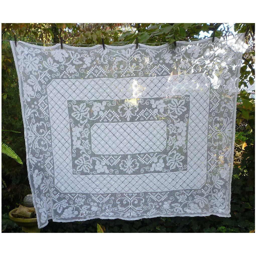Snow White Fancy Embroidered Net Lace Tablecloth