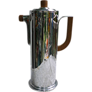 Art Deco Chrome Cocktail Shaker with Wood Handles Manning-Bowen
