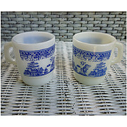 Set of 2 Fire King Blue Willow Milk Glass Mugs