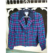 Pendleton Pink Black Blue Tartan Ladies Dressy Jacket Black Collar