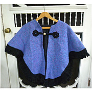 Eyleen Handwoven Irish Tweed Purple Blue Cape Black Trim
