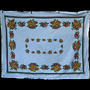 Christmas Bells Bows Vibrant Vintage Holiday Tablecloth