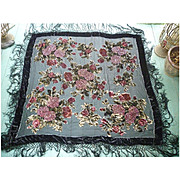 Fabulous Beaded Pink Flowers Black Rayon and Silk Fringed Gypsy Piano Shawl Vintage