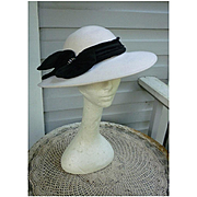White with Black Velvet and Rhinestones Trim Vintage Wool Felt Hat