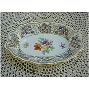 Schumann Chateau Dresden Flowers Reticulated Pierced Oval Serving Dish