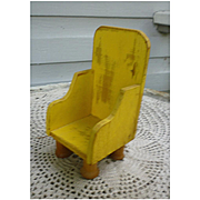 Folk Art Handmade Yellow Wooden Chair with Spool Feet for Dolls