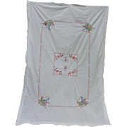 Lavishly Embroidered Hearts and Flowers Tablecloth