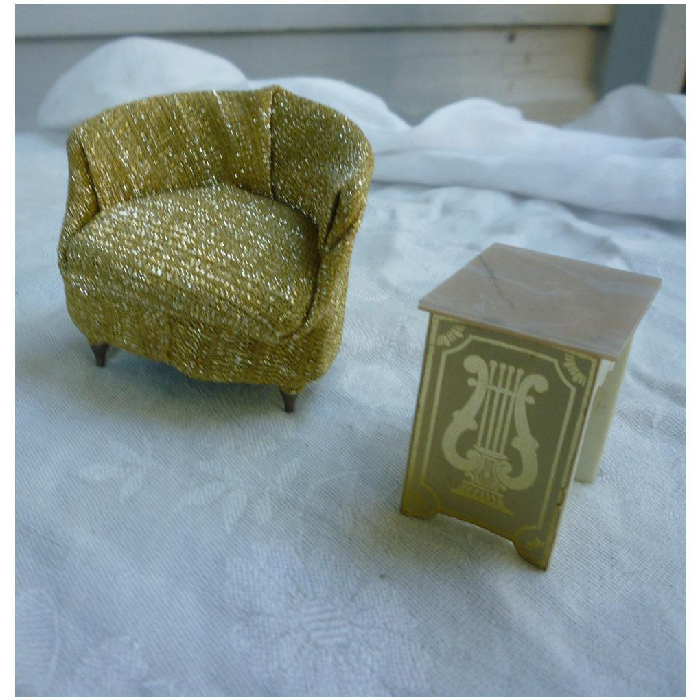 Ideal Petite Princess Gold Lame Occasional Chair and Lyre Table