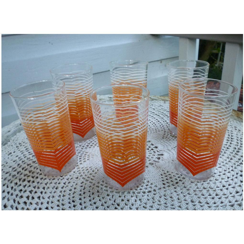 Orange and White Chevrons Printed Tumblers Set of Six