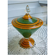 Orange Black and Green Deco Glass Candy Jar Compote with Lid