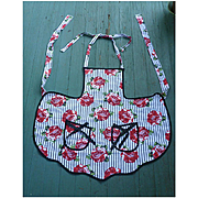 Red Roses on Black and White Stripes Print Black Ribbon Bows Vintage Full Apron