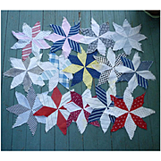 15 Eight Point Star Antique Patchwork Quilt Blocks