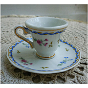Blue Pink Floral Miniature Tea Cup and Saucer 1898 Company