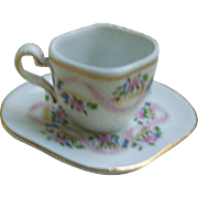 Pink Blue Floral Miniature Tea Cup and Saucer 1898 Company