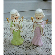 Pair of Singing Choir Angels Figurines Japan