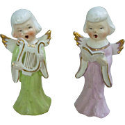 Pair of Singing Choir Angels Figurines Japan