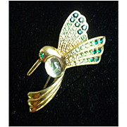 Hummingbird Rhinestone and Jelly Belly Brooch by Monet