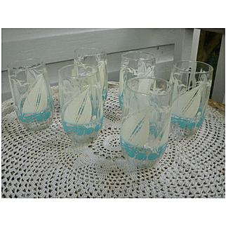 Aqua and White Sail Boats Seagulls and Waves Printed Tumblers Set of Six