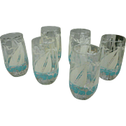Aqua and White Sail Boats Seagulls and Waves Printed Tumblers Set of Six