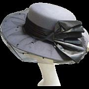 Vintage Whittall & Shon Designer Gray Felt Hat With Black Bow and Net