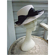 White with Black Satin Band and Bow and Netting Trim Vintage Wool Felt Hat