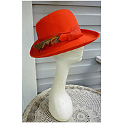 Pheasant Feathers Trim Vintage Red Wool Felt Hat