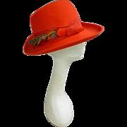 Pheasant Feathers Trim Vintage Red Wool Felt Hat