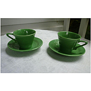 HTF Medium Green Harlequin Tea Cup and Saucer